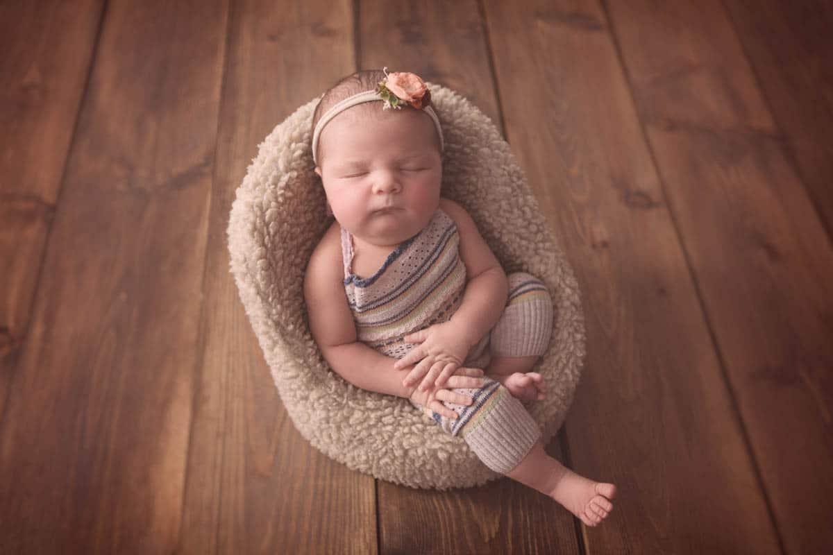 Newborn baby girl in Glasgow newborn photo shoot