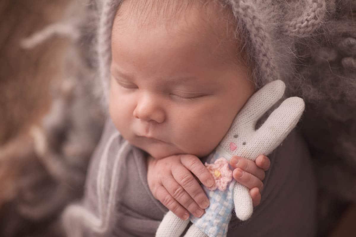 macro image of newborn baby